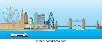 panorama, horizon, londres, illustration