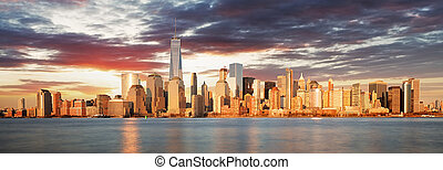 panorama, york, levers de soleil, nouveau, usa