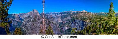 panoramique, glacier, national, point, dôme, parc, californie, moitié, vue, yosemite