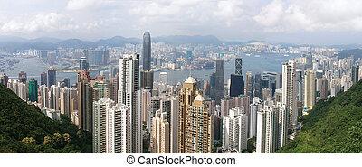 panoramique, hong kong, vue