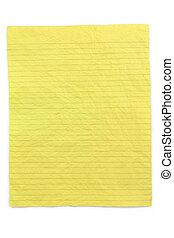 papier chiffonné, jaune, revêtu