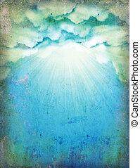 papier, ciel, soleil, vieux, fond, conception, clouds., vendange, nature