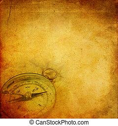 papier, vieilli, compas