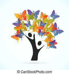 papillon, arbre