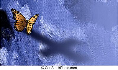 papillon, croix, ombre, graphique, jésus