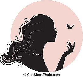 papillon, femme, beauté