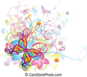 papillon, floral, résumé, fond