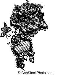papillon, modèle, dentelle, rose