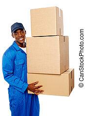 paquet, jeune, livraison, boîtes, tenue, type, pile