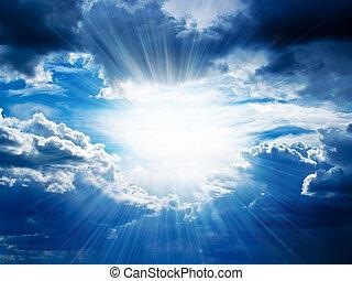 par, casse, rayons, nuages, soleil
