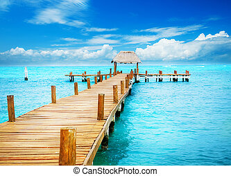paradise., tropique, mujeres, vacances, jetée, mexique, isla