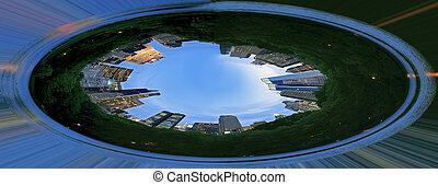 parc central, effet, déformation, conception, nyc
