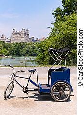 parc central, lac, ny, vélo, pousse-pousse, manhattan