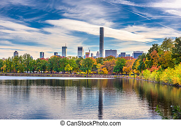 parc central, nouveau, automne, york, pendant, city.
