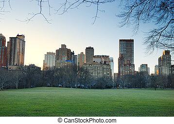 parc, central, york, nouveau, ville