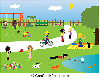 parc, jouer, enfants