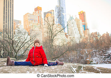 parc, new york, peu, ice-rink, adorable, vue, central, girl