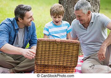parc, panier, grand-père, père, fils, pique-nique