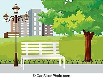 parc, public, vecteur, ville