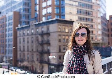parc ville, jeune, élevé, york, nouveau, girl, ligne, photographié