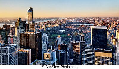 parc, york, central, coucher soleil, nouveau