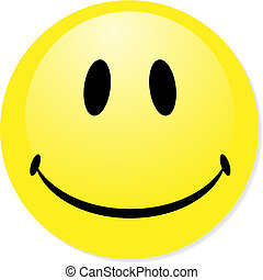 parfait, badge., smiley, jaune, bouton, vecteur, icône, mélange, shadow., emoticon.