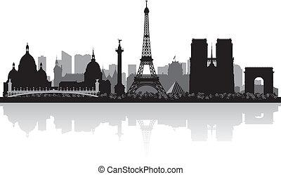 paris, horizon ville, silhouette, france