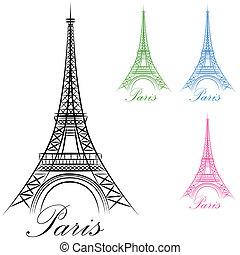 paris, tour, eiffel, icône