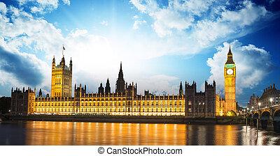 parlement, ben, crépuscule, maison, -, international, londres, royaume-uni, grand, repère, angleterre, rivière tamise