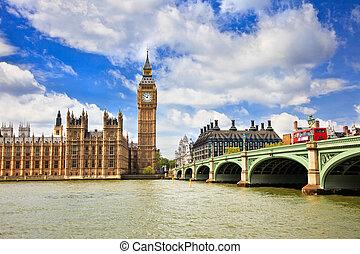 parlement, grand ben, londres, maisons