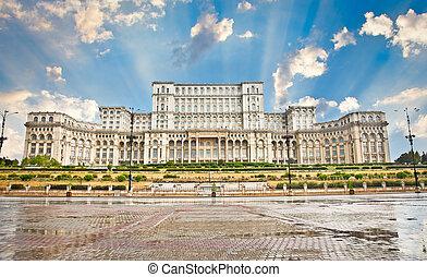 parlement, romania., bucharest., bâtiment
