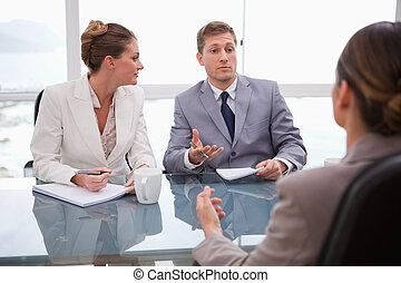 partenaires, conversation, avocat, business