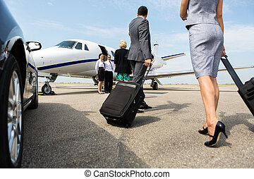 partenaires, marche, jet commercial, privé