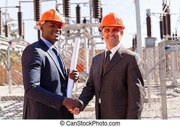 partenaires, poignée main, business