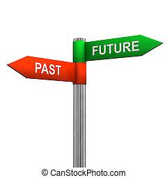 passé, direction, avenir, signe