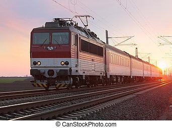 passager, train ferroviaire, coucher soleil