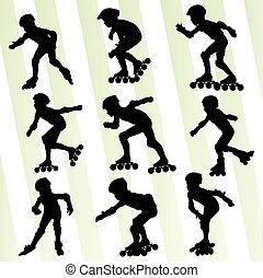patinage, concept, vecteur, fond, rouleau, gosse