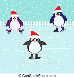 patinage, mignon, pingouins, glace