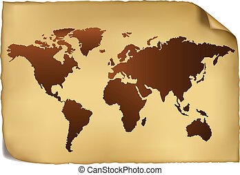 pattern., carte, mondiale, vendange