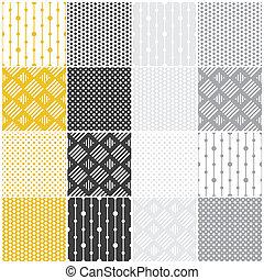 patterns:, géométrique, carrés, seamless, points