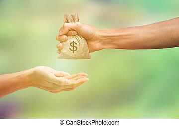 payant, tenue, nature, argent donnant, concept., sac main, personne, vert, arrière-plan., autre, échanges, conceptuel, homme brouillé