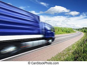 pays, barbouillage, autoroute, mouvement, camion, expédier