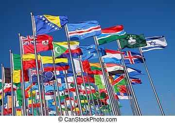 pays, mondiale, drapeaux, autour de