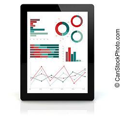 pc, financier, tablette, graphiques