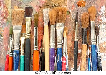 peindre palette, brosses, art, &