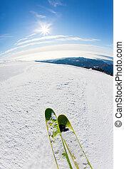 pente, ski, ski