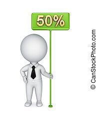 personne, 50%., vert, bunner, petit, 3d