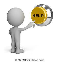 personne, bouton, urgent, aide, 3d