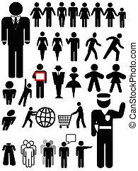 personne, symbole, ensemble, silhouette