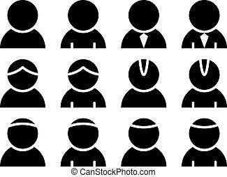 personne, vecteur, noir, icônes